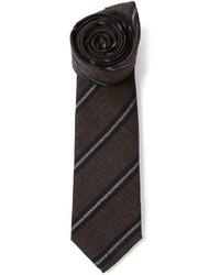 Cravate à rayures verticales marron foncé Brunello Cucinelli