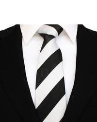 Cravate à rayures verticales noir et blanc DQT