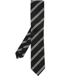 Cravate à rayures verticales noire et blanche Dolce & Gabbana