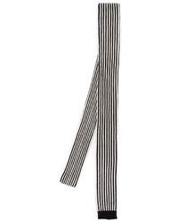 Cravate à rayures verticales noire et blanche Saint Laurent