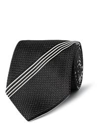 Cravate à rayures verticales noire et blanche Tom Ford