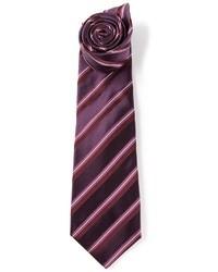 Cravate à rayures verticales pourpre foncé Kiton