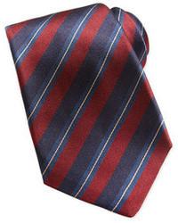Cravate à rayures verticales rouge et bleu marine