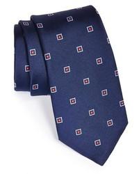 Cravate brodée bleu marine
