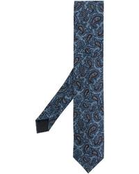 Cravate brodée bleue Lardini