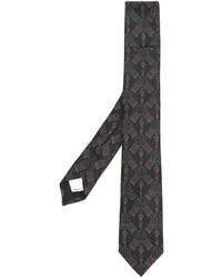 Cravate brodée marron foncé Valentino