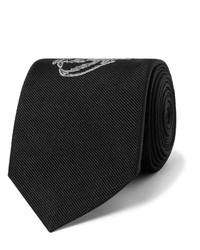 Cravate brodée noire