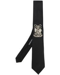 Cravate brodée noire Alexander McQueen
