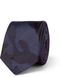 Cravate camouflage bleu marine Valentino