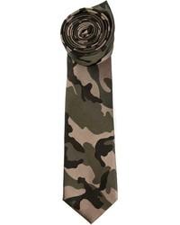 Cravate camouflage vert foncé Valentino