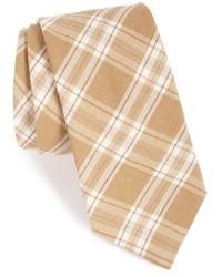 Cravate écossaise beige