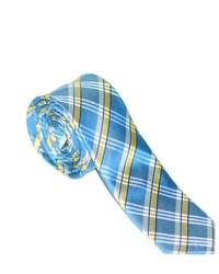 Cravate écossaise blanc et bleu
