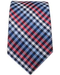 Cravate écossaise blanc et rouge et bleu marine