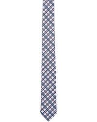 Cravate écossaise blanc et rouge et bleu marine Thom Browne