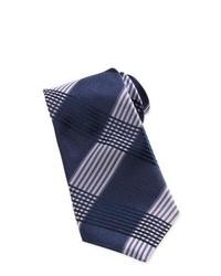 Cravate écossaise bleu marine et blanc