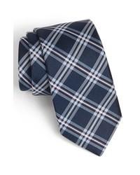 Cravate écossaise bleu marine