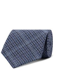 Cravate écossaise bleu marine Oliver Spencer