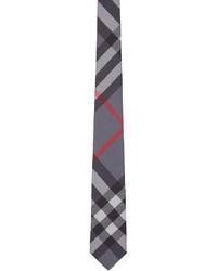 Cravate écossaise grise Burberry