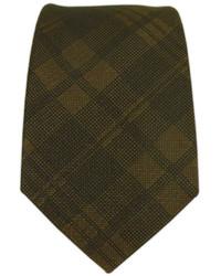 Cravate écossaise marron foncé