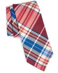 Cravate écossaise rouge et bleu marine