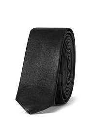Cravate en cuir noire Saint Laurent