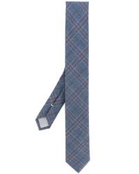 Cravate en laine à carreaux bleue Eleventy