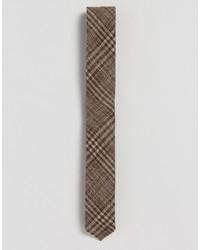 Cravate en laine à carreaux brune Asos