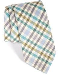 Cravate en laine à carreaux grise