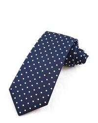 Cravate en laine á pois bleu marine et blanc