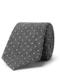 Cravate en laine á pois grise