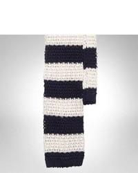 Cravate en laine à rayures horizontales blanc et bleu marine