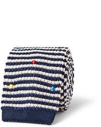 Cravate en laine à rayures horizontales blanc et bleu marine Paul Smith