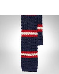Cravate en laine à rayures horizontales blanc et rouge et bleu marine