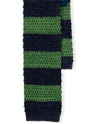 Cravate en laine à rayures horizontales bleu marine et vert