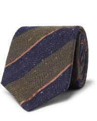 Cravate en laine à rayures horizontales bleu marine et vert Canali