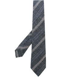 Cravate en laine à rayures horizontales gris foncé Kiton