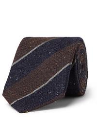 Cravate en laine à rayures horizontales marron foncé Canali