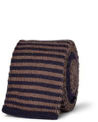 Cravate en laine à rayures horizontales marron foncé