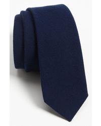Cravate en laine bleu marine