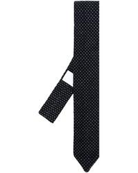 Cravate en laine brodée bleu marine Lardini