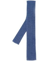 Cravate en laine en tricot bleue Eleventy