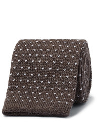 Cravate en laine en tricot brune foncée Canali