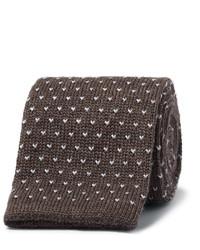 Cravate en laine en tricot marron foncé Canali
