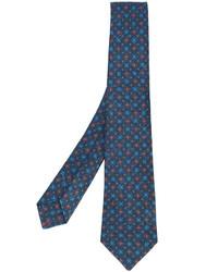 Cravate en laine imprimée bleu marine Kiton