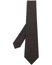 Cravate en laine imprimée marron foncé Kiton