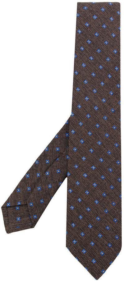 Cravate en laine imprimée marron Kiton