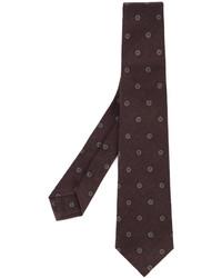 Cravate en laine imprimée pourpre foncé Kiton