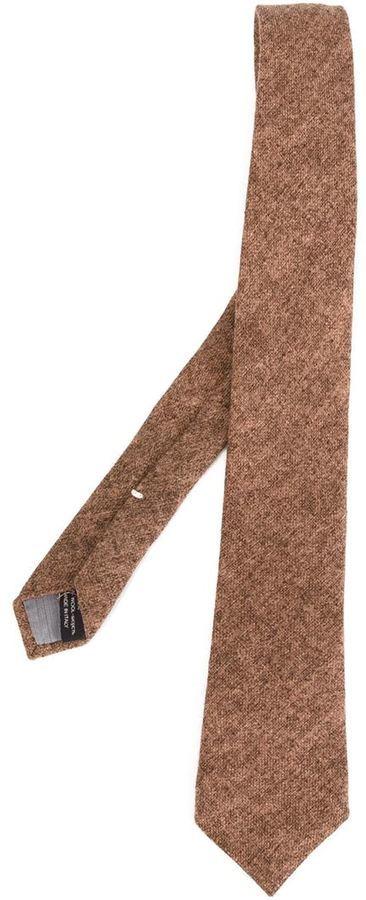 Cravate en laine marron Eleventy