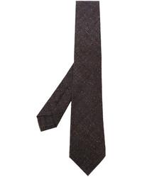 Cravate en laine tressée marron foncé Kiton