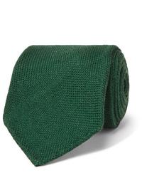 Cravate en laine vert foncé Drake's